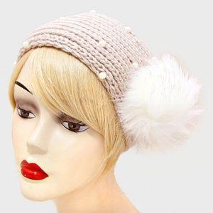 White Pearl & Pom Pom Cream Knit Earmuff Headband